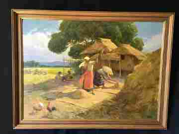 Fernando Amorsolo (Filipino/ 1892-1972) Winnowing Rice