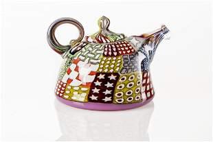 Richard Marquis (b.1945) Murrine Patchwork Teapot