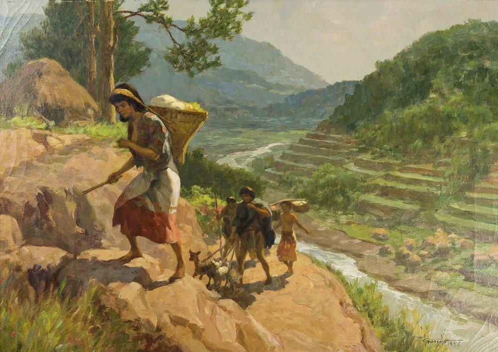 "Fernando Amorsolo (1892-1972) ""Rice Harvesting"", 1956"