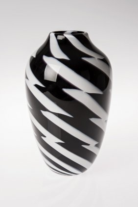 Paul Harrie Black and white striped vase