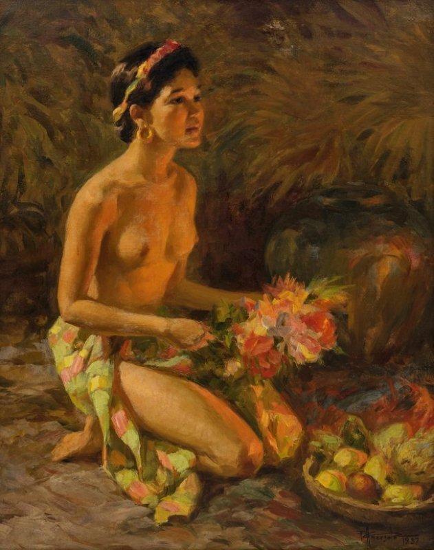 Fernando Amorsolo (Filipino 1892-1972) Offering, 1957