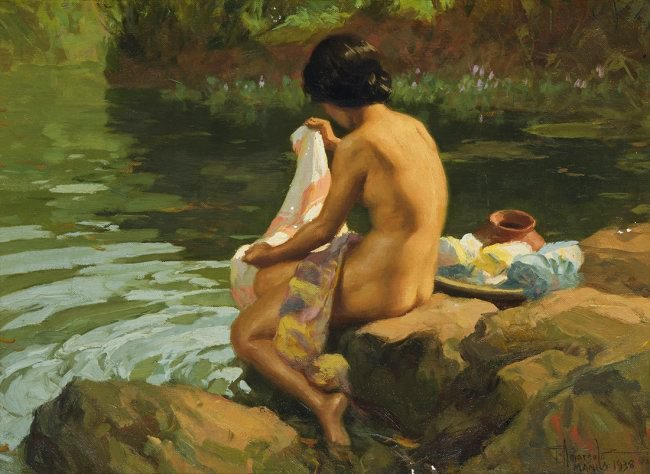 Fernando Amorsolo (Filipino 1892-1972) Lavandera, 1938