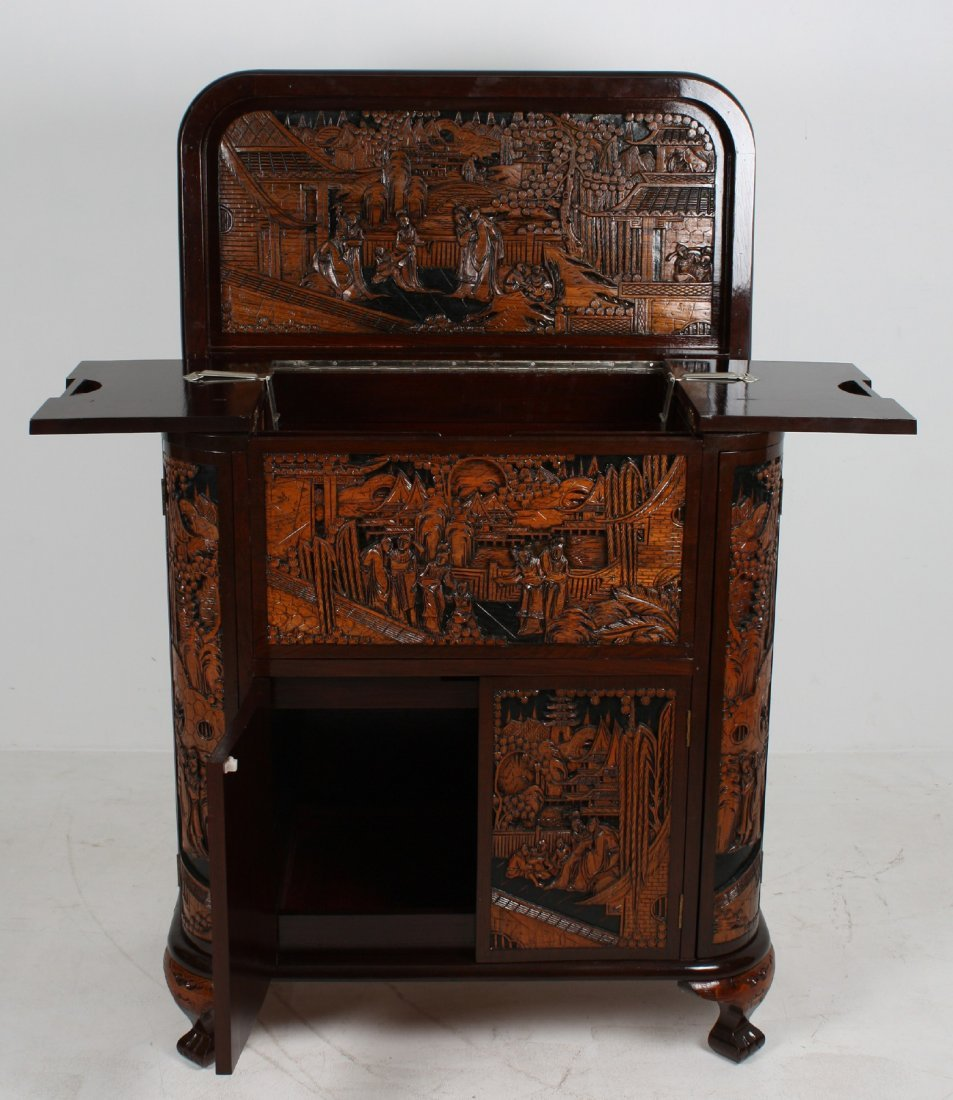 Chinese Carved Wooden Cupboard