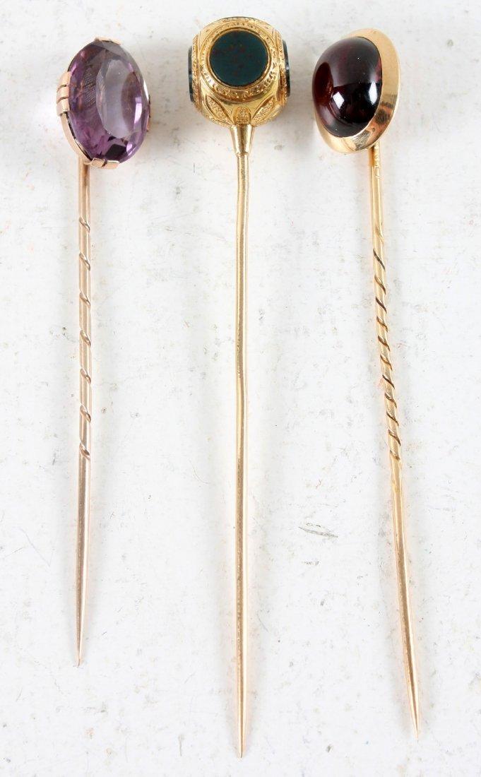 Hat Pins,3st,18k gold