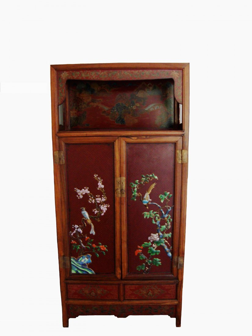 Chinese hardwood cupboard, decorated with Cloisonné