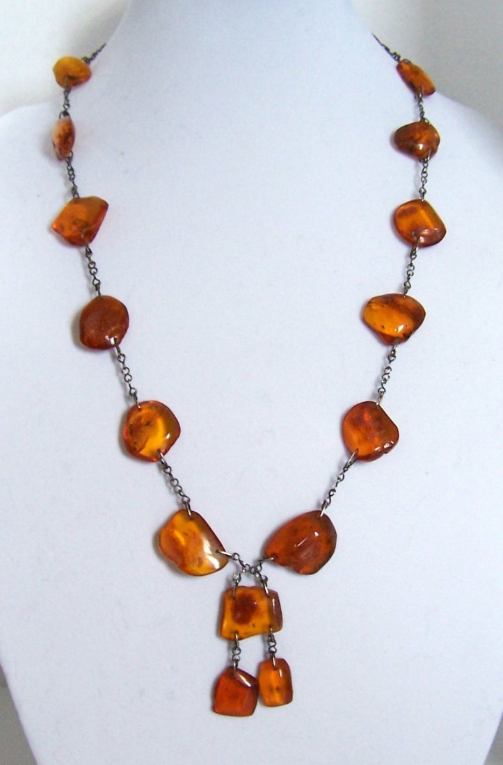 mid century sterling Russian baltic amber necklace