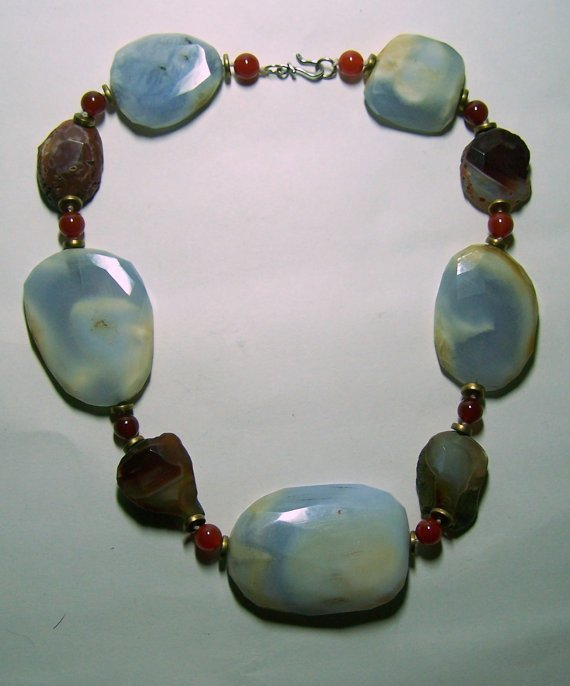 Haute couture sterling silver chalcedony necklace
