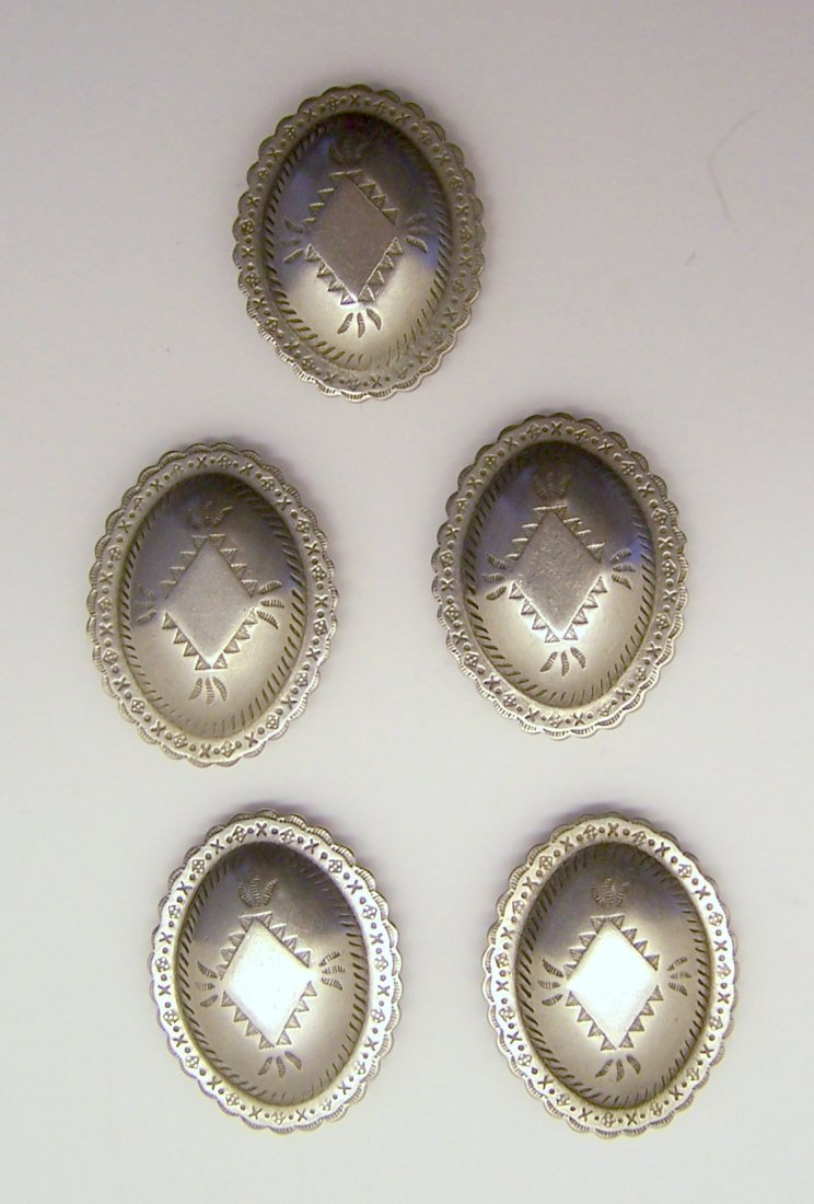 vintage set of 5 NAVAJO CONCHO silver button cover lot