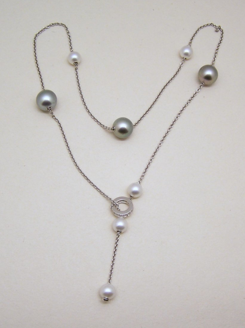 MIKIMOTO Pearls in Motion 18k Diamond Clasp Necklace
