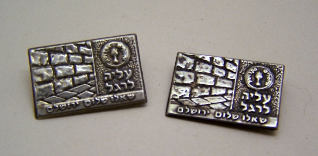 pair of sterling silver Israel Jewish brooch pin