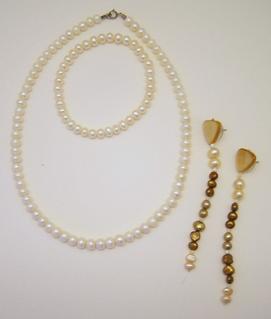 3 fresh water pearl necklace bracelet earring lot