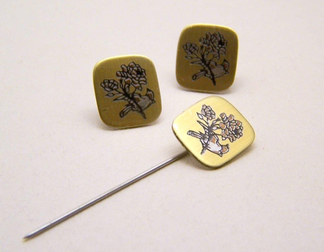 REED & BARTON Damascene sterling silver pin earrings