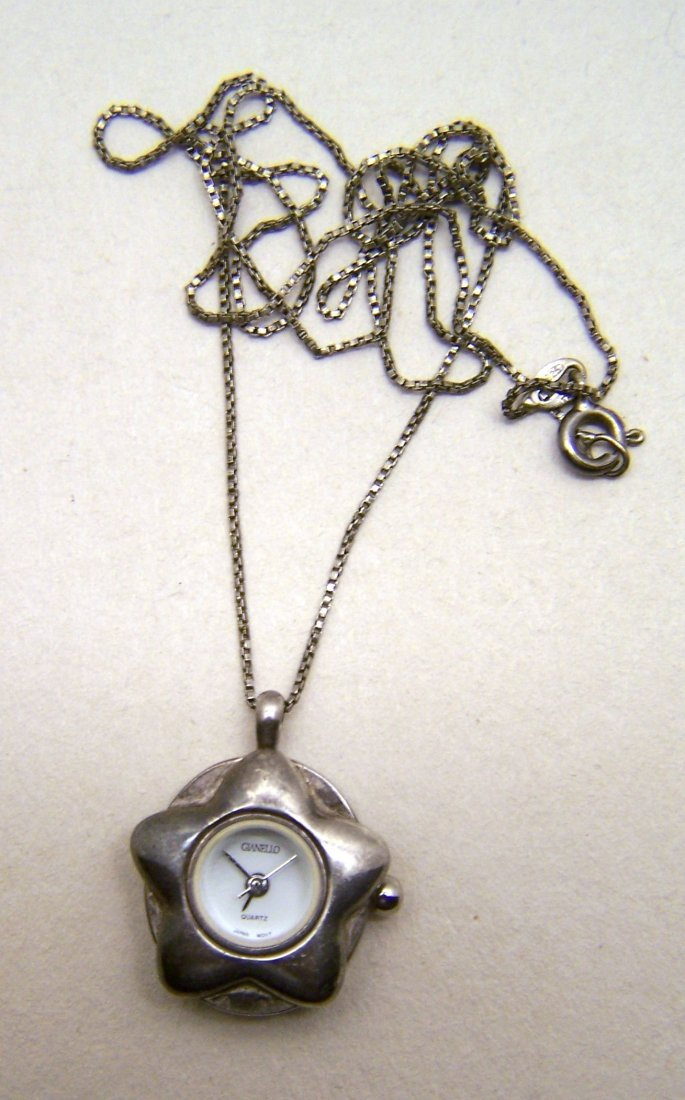 GIANELLO sterling silver watch pendant chain necklace