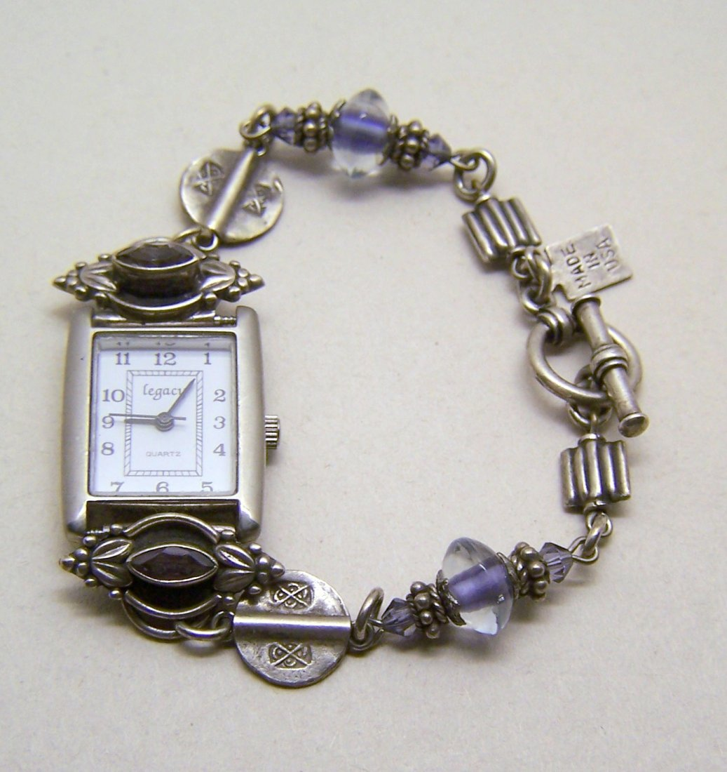 DESERT HEART sterling silver amethyst ladies watch