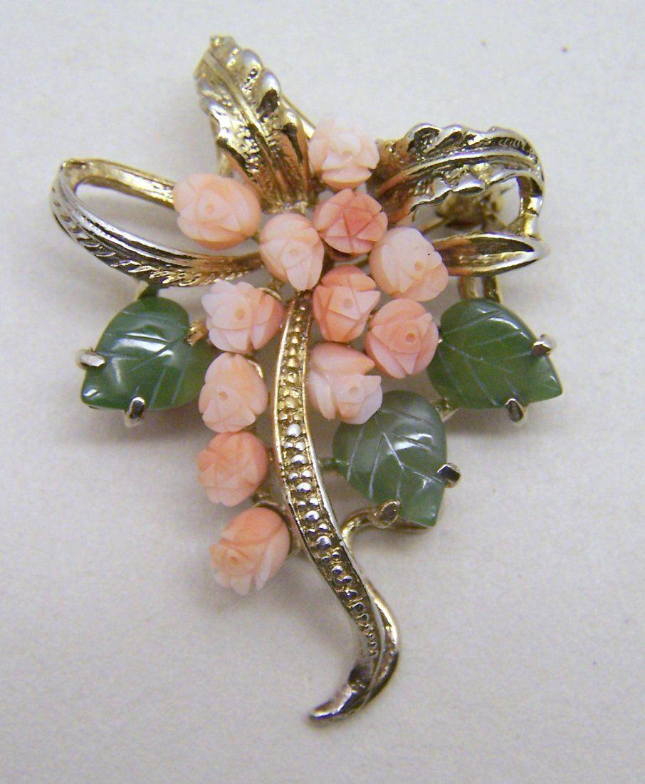vintage carved angel skin coral jade bouquet brooch pin