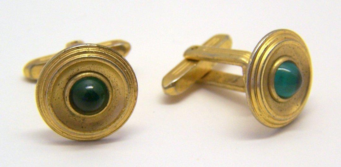 vintage HICKOK USA gold tone emerald glass cufflinks