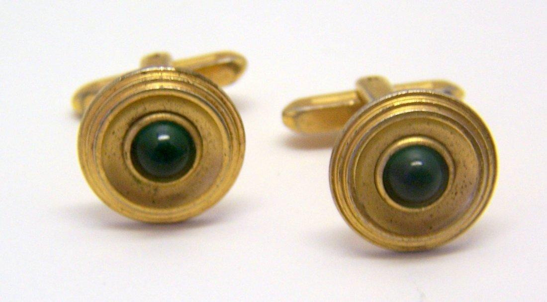 vintage HICKOK USA gold tone emerald glass cufflinks - 2