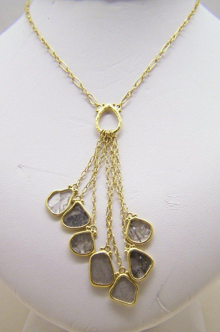GURHAN 24k yellow gold rose cut diamond lariat necklace