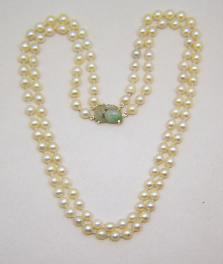 MING'S 14k Double Strand 5mm akoya pearl jade necklace