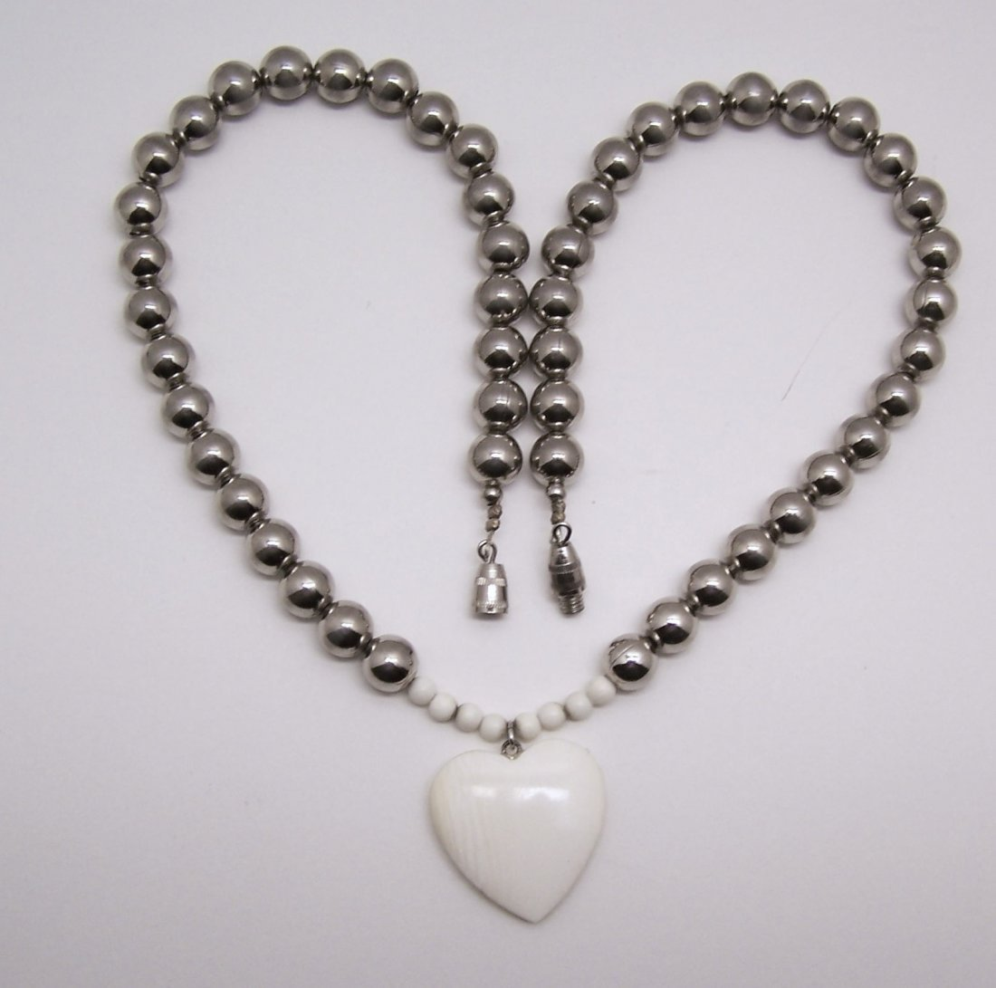 silver tone beads hand carved heart ivory necklace