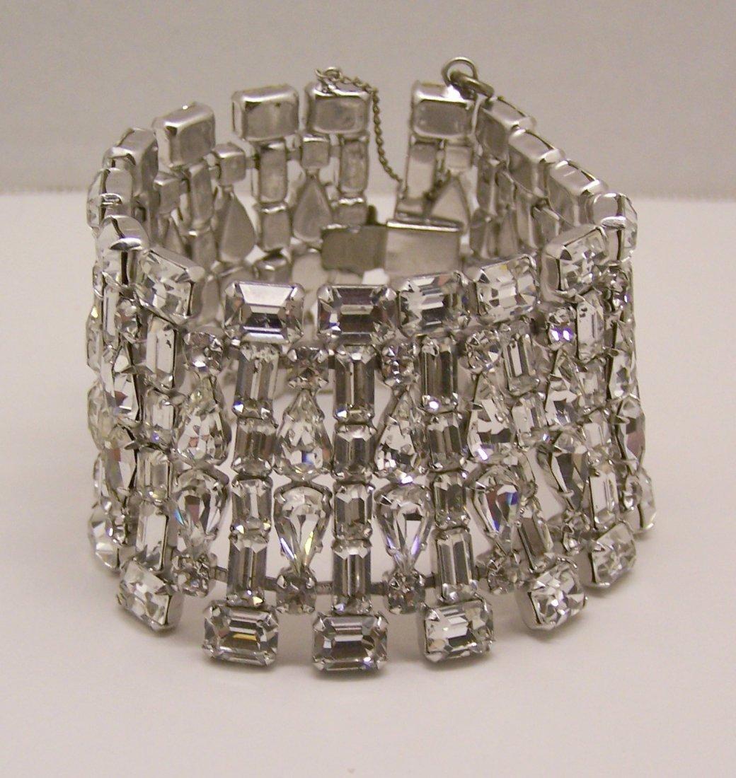 Art Deco rhodium plate rhinestone bracelet
