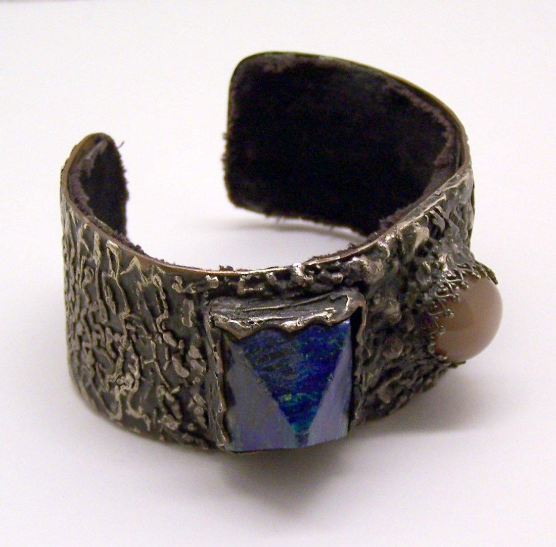 sterling silver & copper mother pearl azurite bracelet