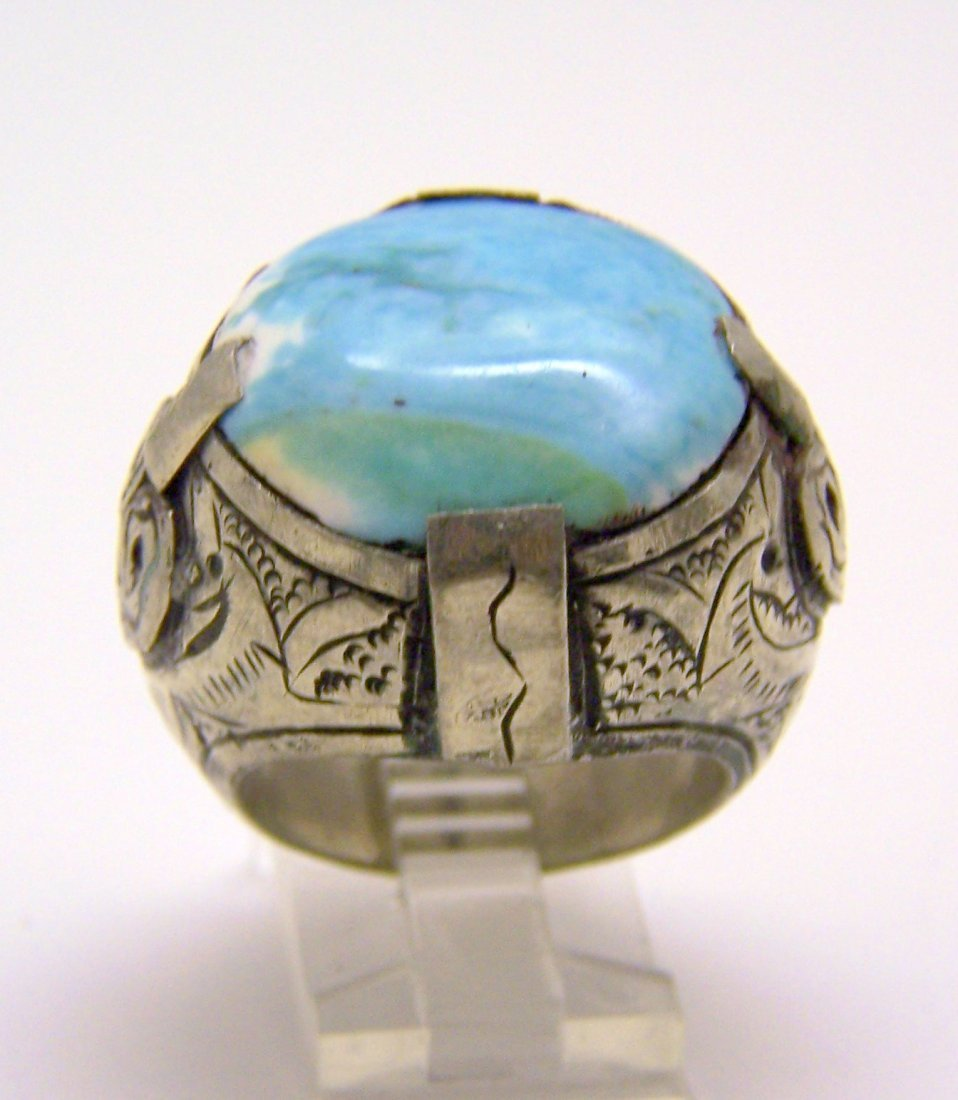 vintage ottoman Persian silver stone ring