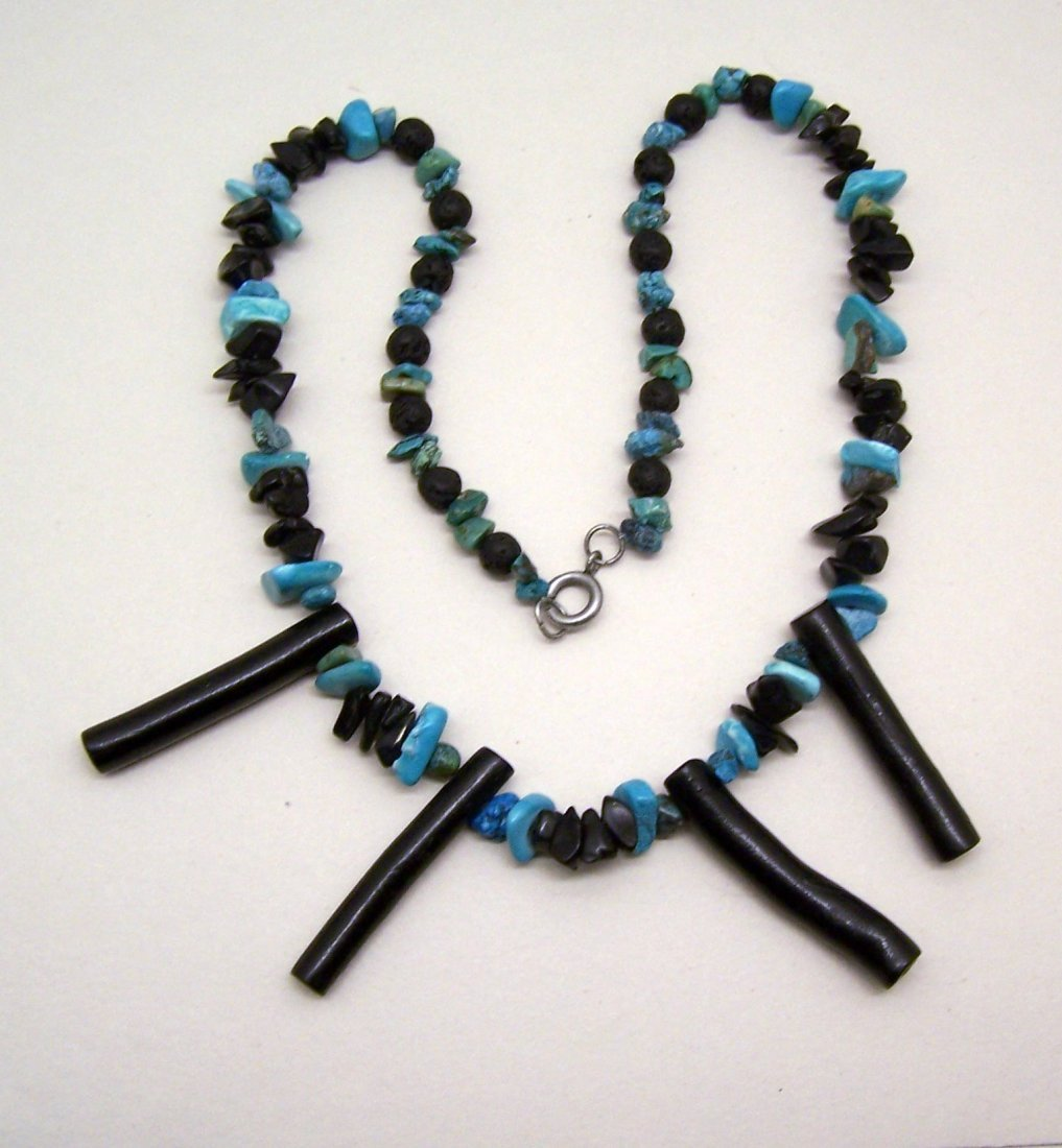 vintage black branch coral turquoise necklace