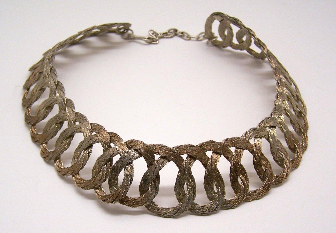 Vintage gold pink tone braid choker necklace - 2