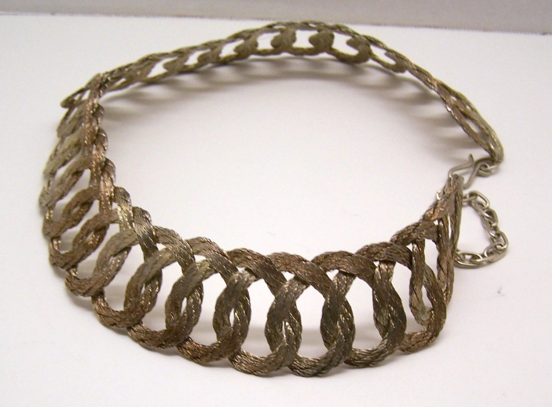 Vintage gold pink tone braid choker necklace - 3