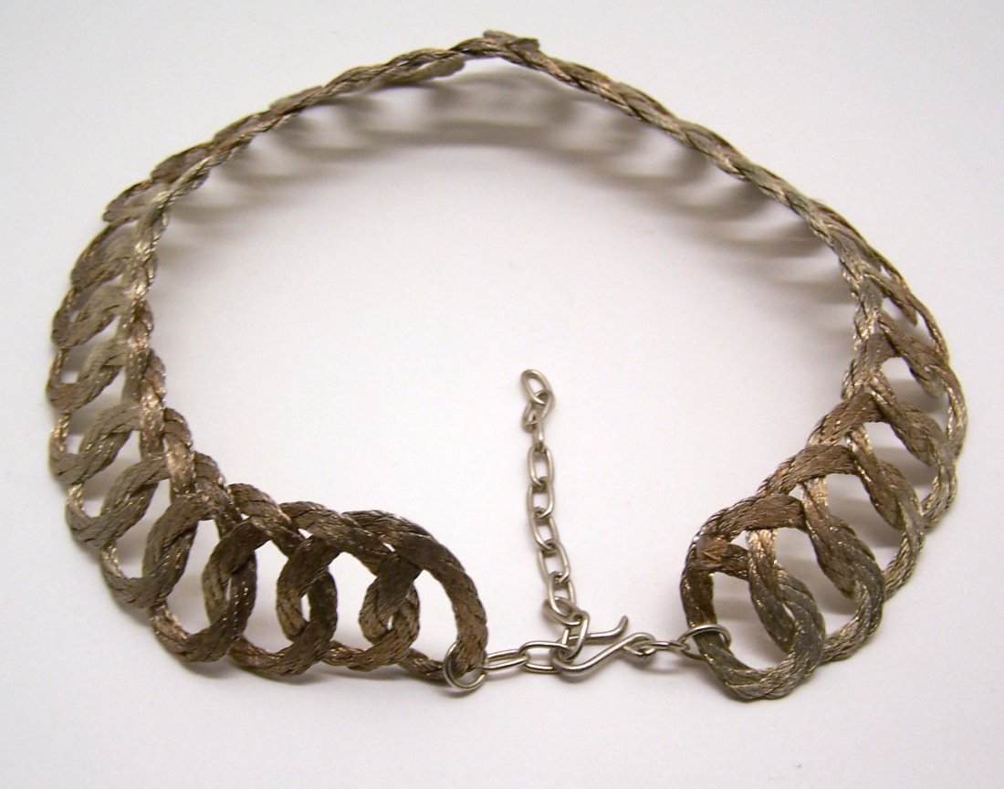 Vintage gold pink tone braid choker necklace - 4