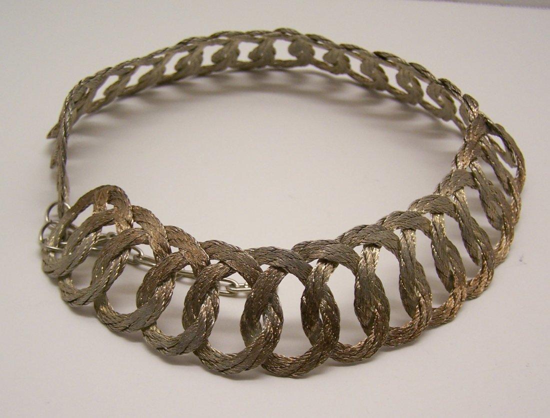 Vintage gold pink tone braid choker necklace - 5