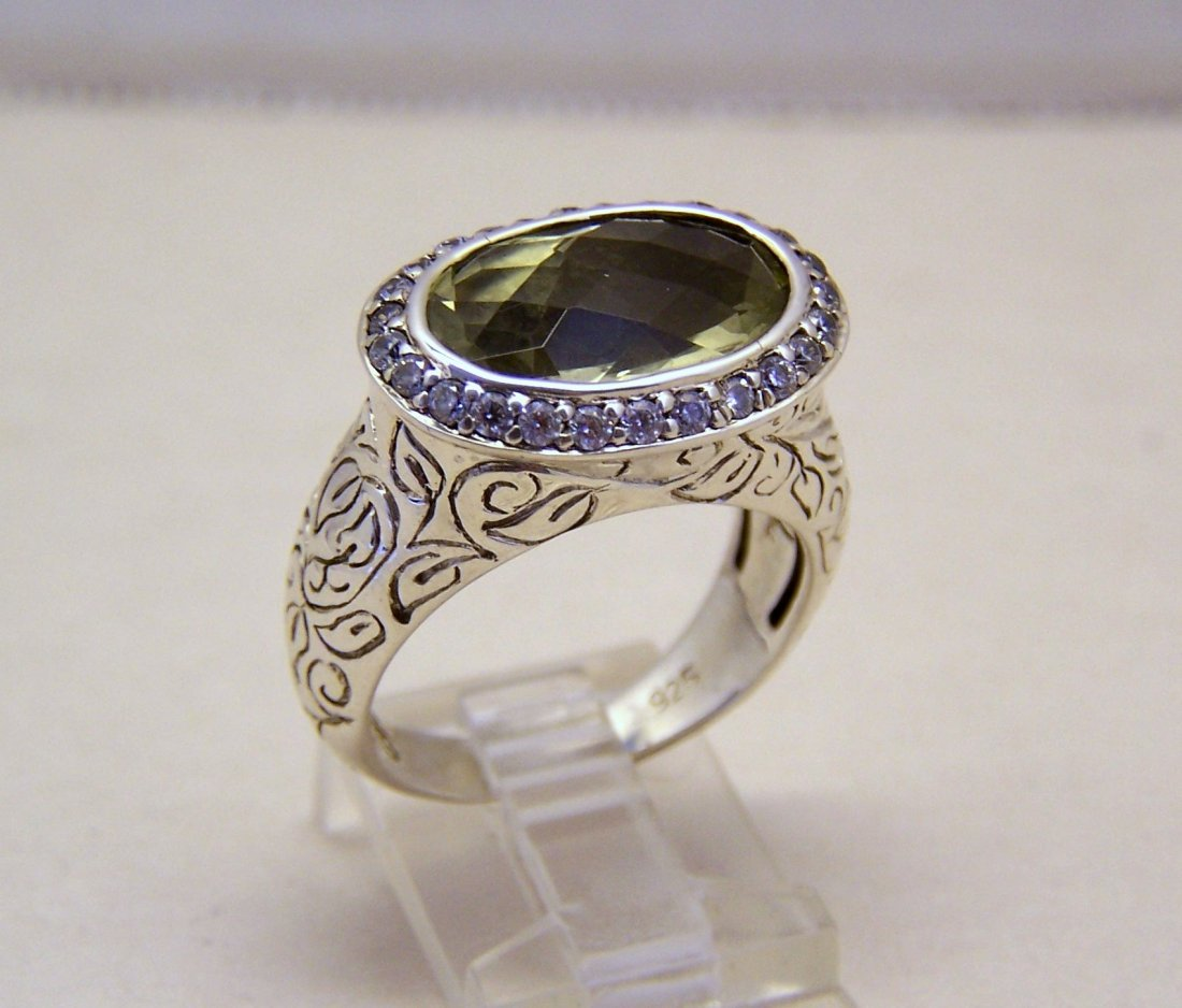 SEIDENGANG sterling silver lemon quartz Cz ring