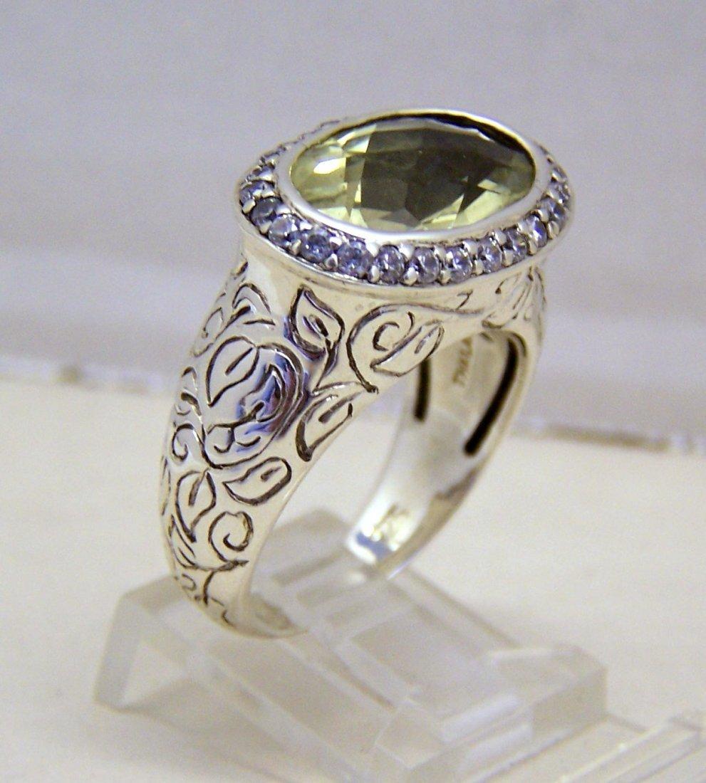 SEIDENGANG sterling silver lemon quartz Cz ring - 2