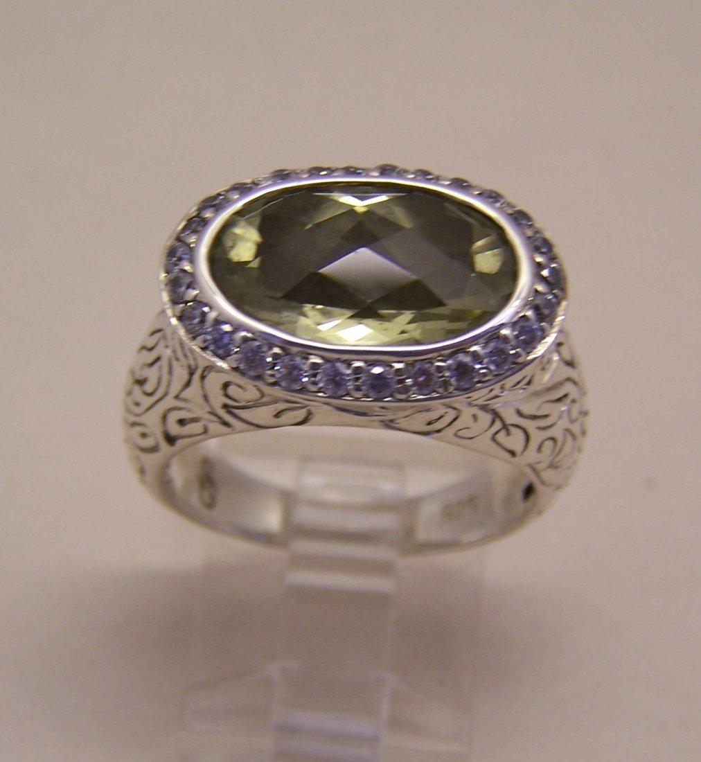 SEIDENGANG sterling silver lemon quartz Cz ring - 4