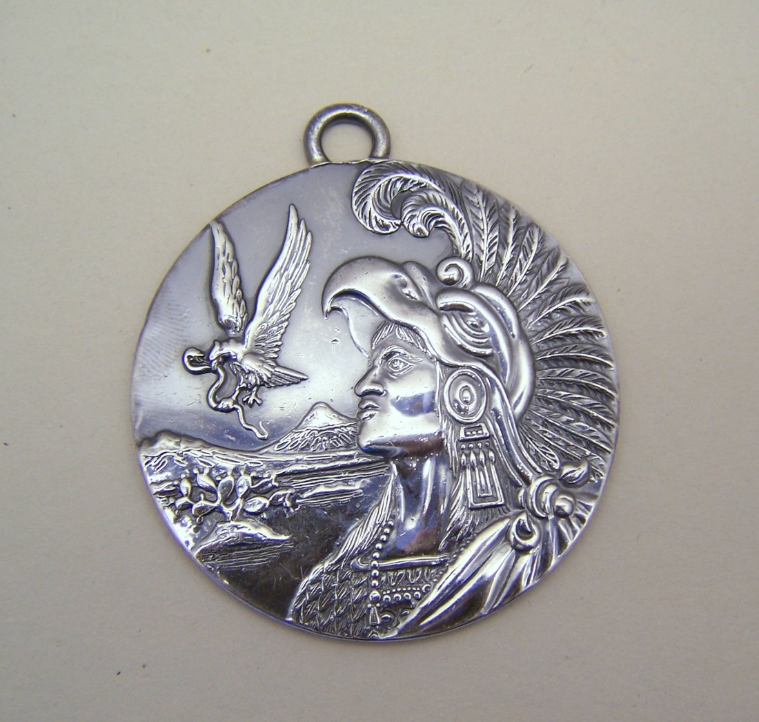 Taxco Mexico sterling silver Cuauhtemoc medal pendant