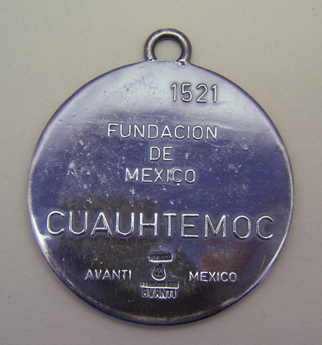Taxco Mexico sterling silver Cuauhtemoc medal pendant - 3