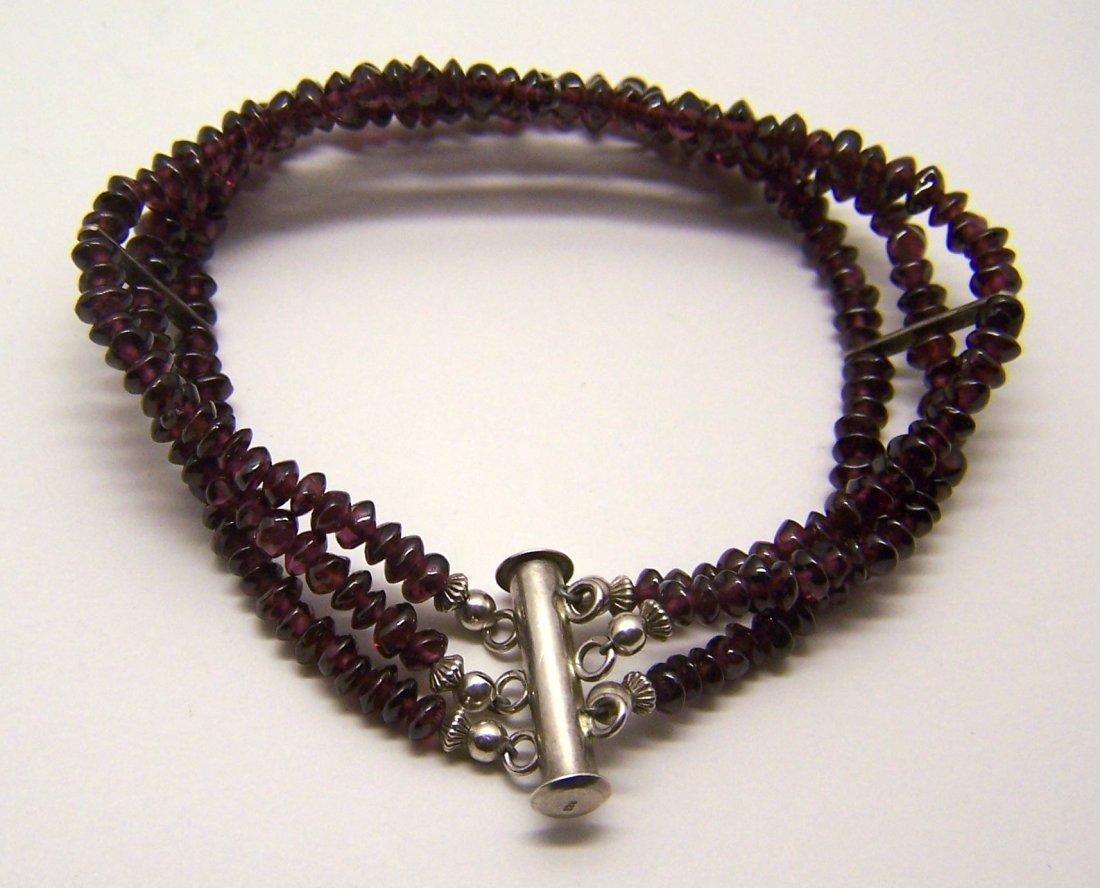 sterling silver garnet bead bracelet - 2