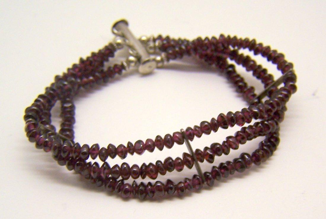 sterling silver garnet bead bracelet - 3