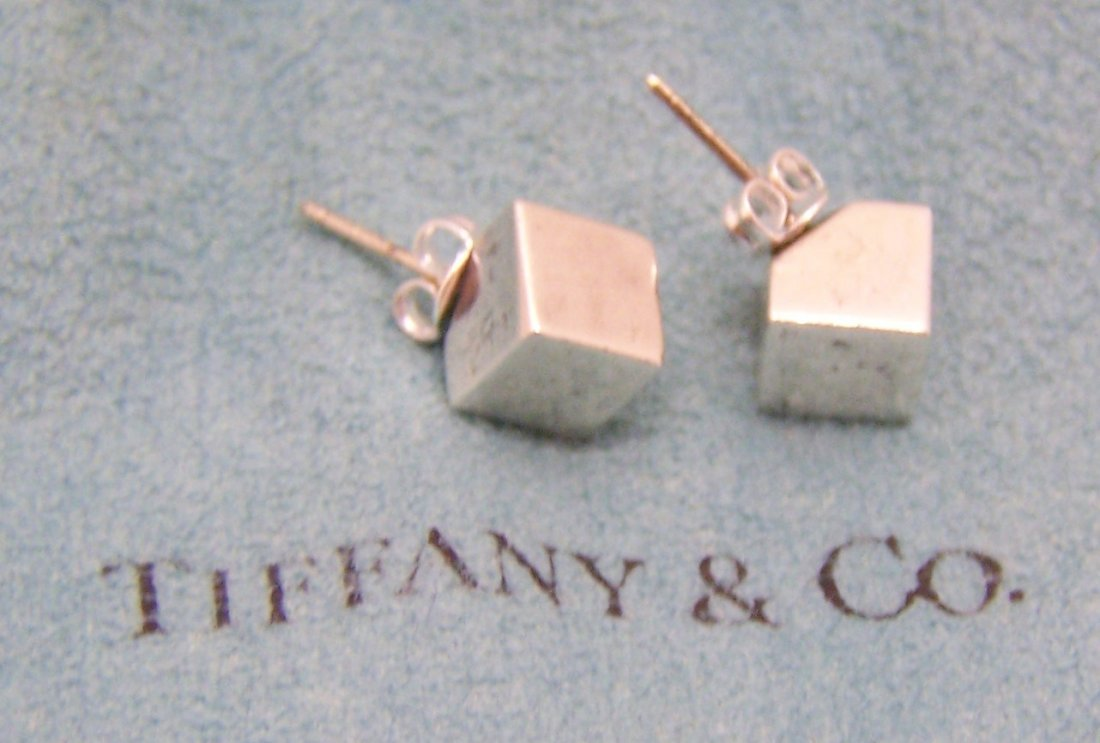 rare TIFFANY & Co sterling silver cube stud earrings