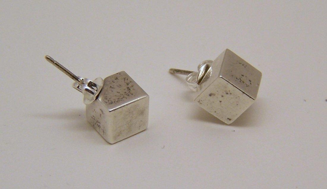 rare TIFFANY & Co sterling silver cube stud earrings - 3