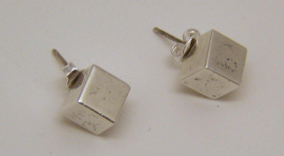 rare TIFFANY & Co sterling silver cube stud earrings - 5