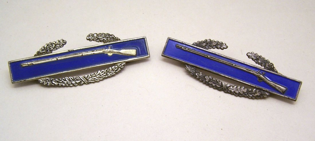 lot of 2 US military rifle enamel sterling silver award