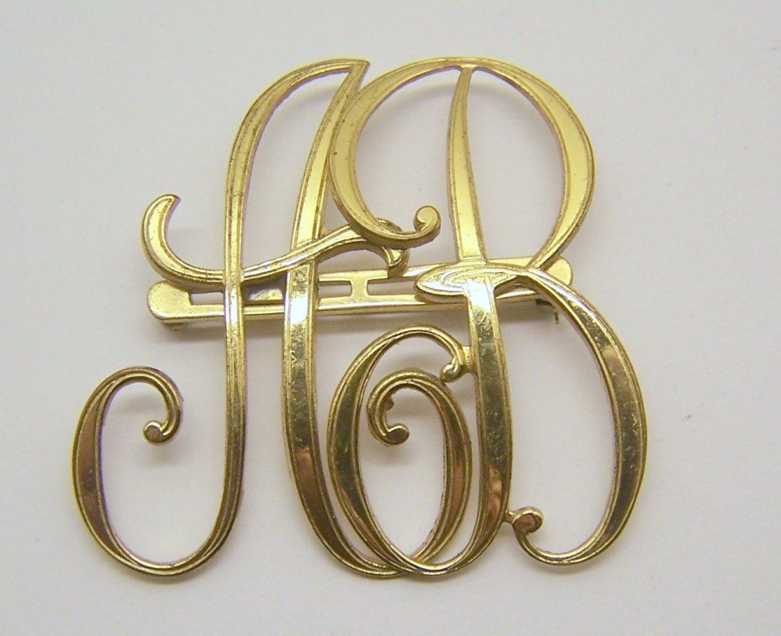 Art Deco gold tone MONOCRAFT brooch pin