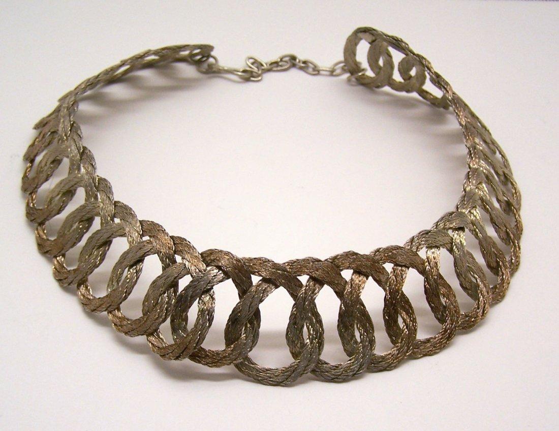 Vintage gold pink tone braid choker necklace