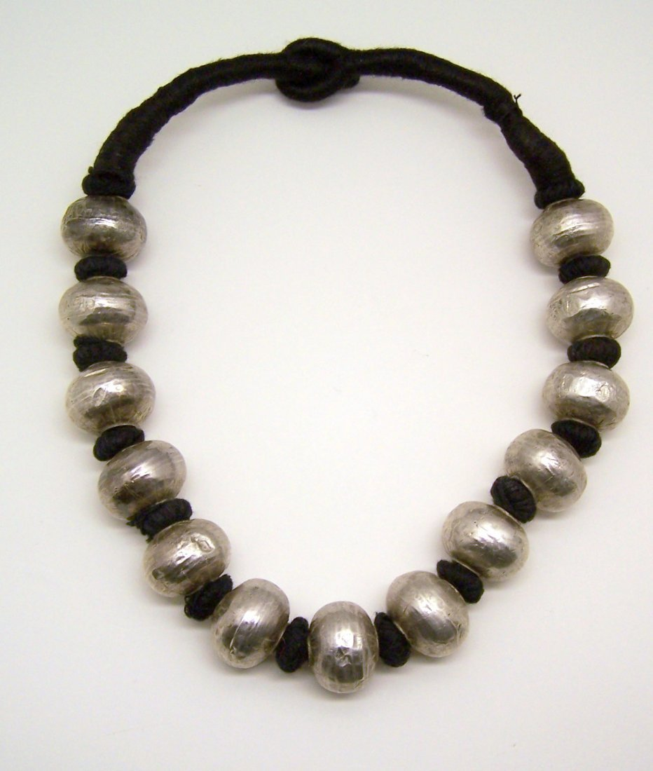 vintage ethnic sterling silver beads necklace