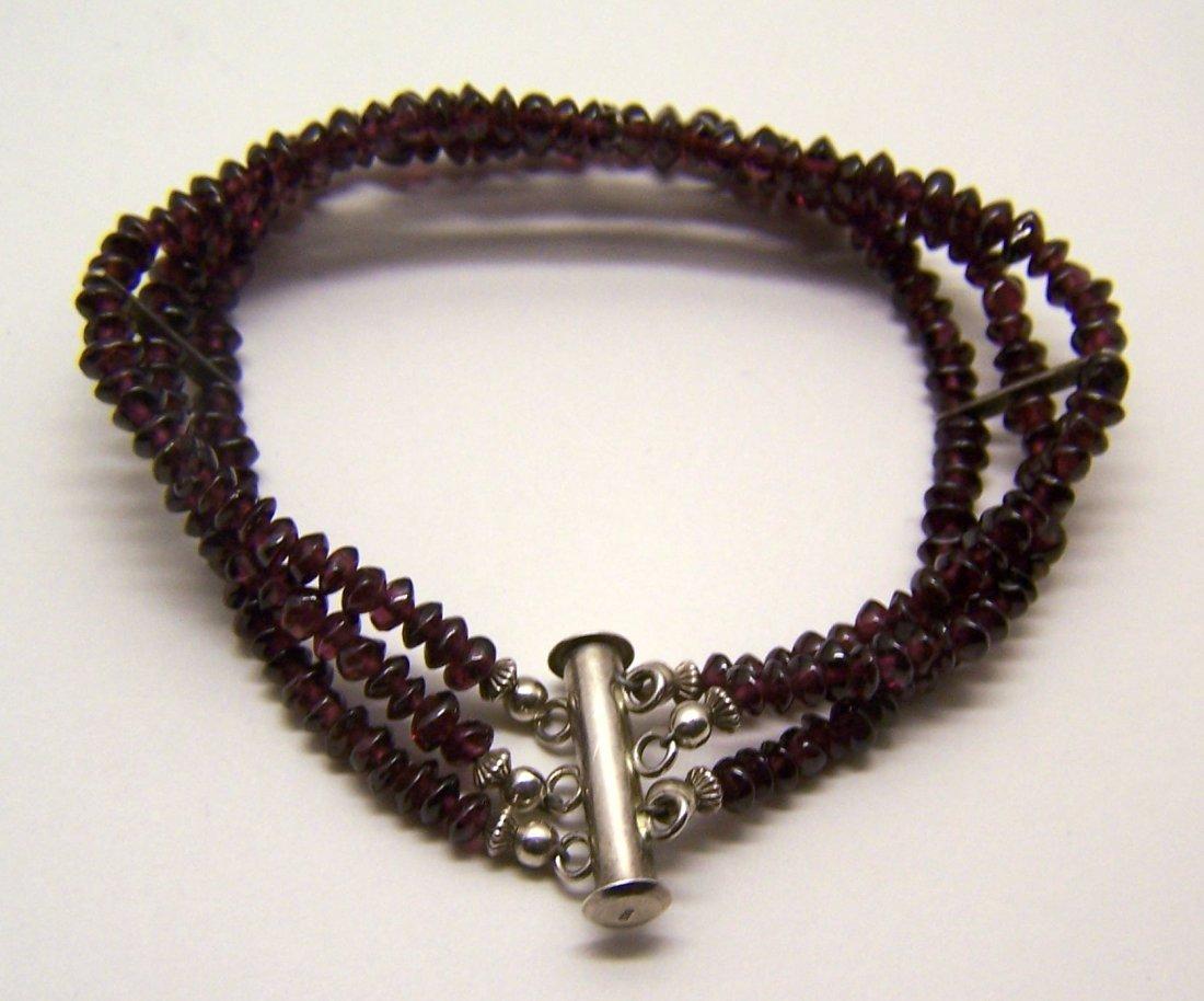 sterling silver garnet bead bracelet