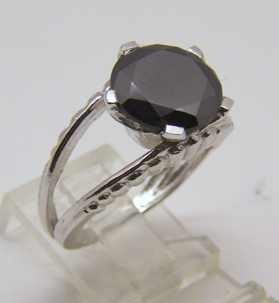 sterling silver 5.30 ct black diamond ring