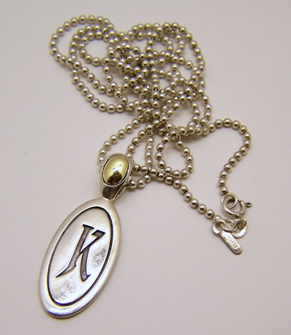 ANN KING sterling silver 18k pendant chain necklace