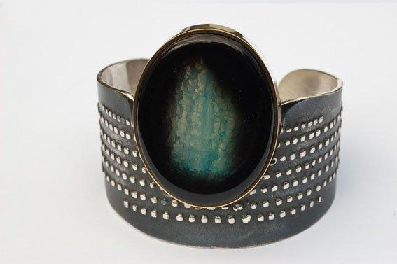 Handcrafted sterling silver 18k  Agate Cuff bracelet
